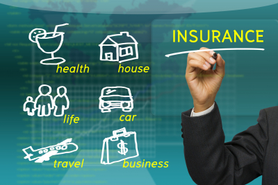 businessman underline Insurance word with sketching insured category